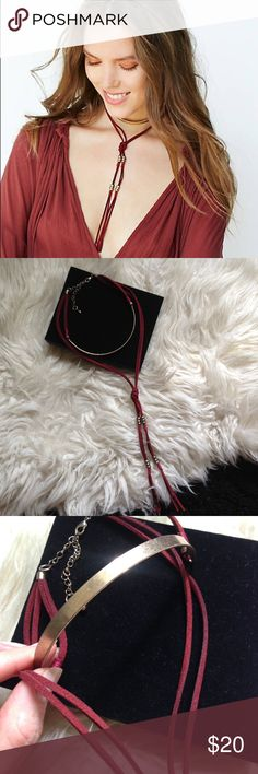 """FREE PEOPLE VINTAGE LAYER TIE CHOKER NECKLACE Burnished gold & red velvet suede """"Graceland"""" necklace from Free People. New in FP bag - showroom sample from our showroom. Vintage look and feel. Free People Jewelry Necklaces"""