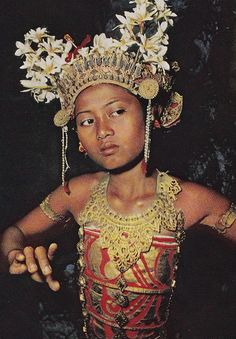 a young Balinese girl dancing the traditional legong.  1959