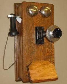There was one of these hanging on the wall in my grandma's house! Vintage Phones, Vintage Telephone, Antique Phone, Advertising And Promotion, Old Phone, Fun Snacks For Kids, How To Antique Wood, New Phones, Vintage Furniture