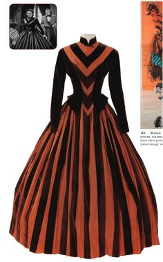 """Two piece chocolate brown velvet and copper ribbed satin striped period dress.  Worn by Jennifer Jones as """"Emma Bovary"""" when her note is called in and she tries to raise the money in Madame Bovary (1949)"""