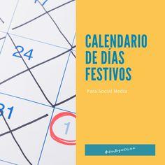 Lista de fechas de días festivos Chart, Blog, Calendar, Blogging
