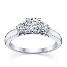 14K White Gold Diamond Engagement Ring Setting 1 Carat Total Weight