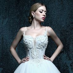 ZXB9 Appliques Spaghetti Straps Open Back Ball Gown Wedding Dress