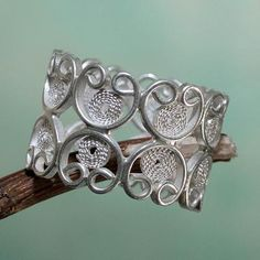 Artisan Crafted Sterling Silver Filigree Band Ring - Catacaos Hearts | NOVICA