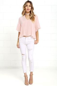 Lovely Blush Pink Top - Pleated Top - High-Low Top - $36.00