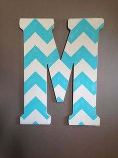 Rustic Custom Distressed Aqua Blue Chevron Home Decor Decorative Pottery Barn Style Letters Wedding Gift Bridesmaid