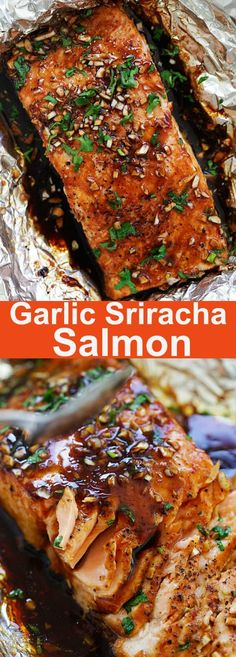 Sriracha Salmon - moist, juicy and flaky foil baked salmon recipe with a mouthwatering Garlic Sriracha marinade. This recipe takes only 10 minutes active time. Baked Salmon Recipes, Fish Recipes, Seafood Recipes, Dinner Recipes, Cooking Recipes, Healthy Recipes, Salmon Marinade Baked, Delicious Recipes, Korean Recipes