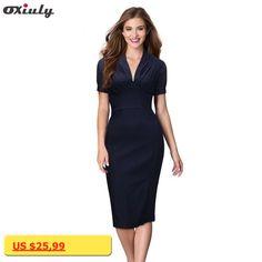 fcd0e8ac777d6 Oxiuly Vintage Womens Puff Sleeve V-Neck Stretchy Cotton Soft Stretchy  Bodycon Empire Waist Sheath