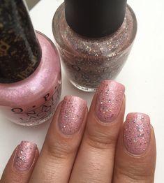 Petite pose des vernis OPI, Pussy Galore et Teenage Dream 💅🏽 #opi #nail #onglescourts #polish #holographic #lauriane #lauriane_nails #vernis #nails #nail #nailspolish #paillettes #pink #rose