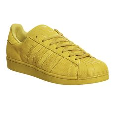 Adidas Superstar 1 ($105) ❤ liked on Polyvore featuring shoes, eqt yellow mono, trainers, unisex sports, yellow shoes, sports shoes, unisex shoes, sporting shoes and low tops