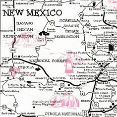 Vintage New Mexico Map Historic Trails Mid Century Southwest The Land Of Enchantment