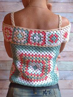 Crochet Summer Lace Top Ethic style Blouse Multicolor Crochet Granny's squares Cotton Top open shoul - Poncho Stricken Débardeurs Au Crochet, Mode Crochet, Crochet Granny, Crochet Baby, Crochet Style, Cotton Crochet, Crochet Toddler, Crochet Afgans, Tunisian Crochet