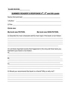 5th Grade Book Report Printables   Printable Book Report Forms ...