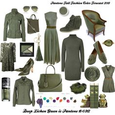 """Pantone Fall Fashion Color Forecast 2013 - Deep Lichen Green"" by bekzilla on Polyvore"