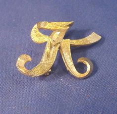 "Retro Vintage  ""Not Sure"" Gold Color MAMSELLE Letter K Pin w/ No Stone #Mamselle"