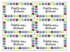 """Paws-itive"" Behavior Punch Cards"