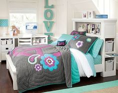 Cool Teen Girl Rooms Neon | Teen Girl Bedroom Ideas in Grey and Blue Colors Combination Good ...