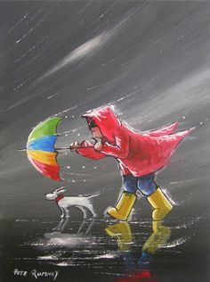 "Me 'N"" Sophie June bucking the storm together Umbrella Art, Umbrella Painting, Rain Art, Illustration Art, Illustrations, Walking In The Rain, Whimsical Art, Rainy Days, Online Art Gallery"