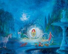 """""""A Dream is a Wish Your Heart Makes"""" by Harrison Ellenshaw - Limited Edition of 95 on Hand-Embellished Canvas, 24x30.  #Disney #Cinderella #DisneyFineArt #HarrisonEllenshaw"""
