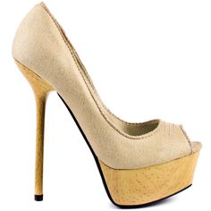 Fashionistas everywhere will be obsessed with this new Bebe pump.  Chantal brings you a gold glittery beige canvas upper with stitching at the vamp.  A wood 1 1/2 inch platform and 5 1/2 inch skinny stiletto heel will add instant glam to your look.