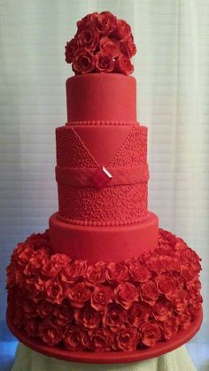 """Ruby"" A 5 tier fondant covered cake with 185 handmade gumpaste roses, royal icing cornelli lace and an Isomalt gemstone. It's a Pretty Cake for sure! Elegant Wedding Cakes, Red Wedding, Pretty Cakes, Beautiful Cakes, Cake Boss Wedding, Cakepops, Christmas Wedding Cakes, Royal Cakes, Wedding Anniversary Cakes"
