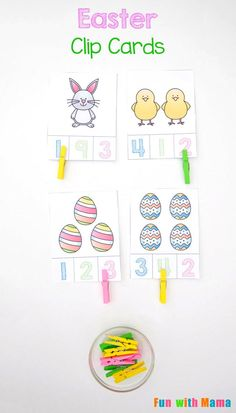 These free printable Easter Count and Clip cards include a pdf for preschoolers and toddlers to work on counting, numbers, and fine motor skills. via @funwithmama
