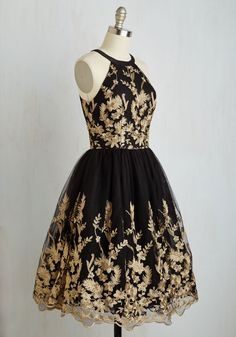 With your award-winning smile and this black fit and flare dress by Chi Chi London, you're red carpet ready! Gold floral embroidery gleams atop the. Unique Dresses, Trendy Dresses, Casual Dresses, Short Dresses, Fashion Dresses, Formal Dresses, Retro Vintage Dresses, Vintage Inspired Dresses, Casual Bridesmaid Dresses