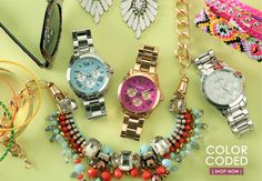 I really like the Fossil watch with the turquoise - now only if the pink came in the silver too! Im not a gold fan.