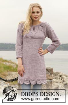 Strikket DROPS kjole i Big Merino med rundt bærestykke og hulmønster. Str S - XXXL Gratis opskrifter fra DROPS Design.
