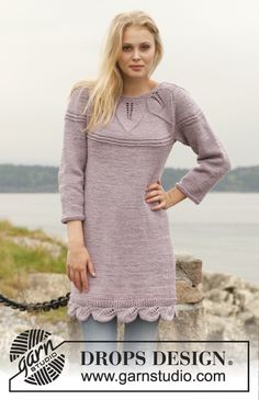 "Knitted DROPS dress with round yoke and lace pattern in ""Big Merino"". Size: S - XXXL. ~ DROPS Design"