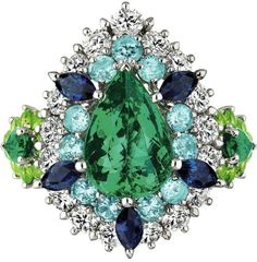 Blue/Green Dior Cocktail Ring