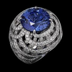 Oriental Influences – High Jewelry Ring Platinum, one 20.96 -carat round sapphire, brilliants