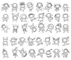 Group of children sketch - .- Gruppe von Kindern skizzieren – Outline Group of Children – - Doodle Art, Doodle Drawings, Cartoon Drawings, Easy Drawings, Drawing Sketches, Doodle Kids, Family Stock Photo, Doodle People, Stick Figure Family