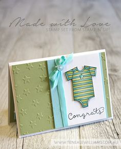 hand crafted card ... baby onesie ... aqua and olive ... Stampin' Up!