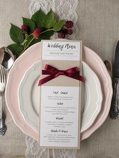 Rustic country deep red fall wedding menu #fallwedding #weddingreception