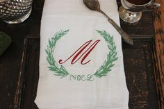 #Christmas #Towels # monogram  3 Flour Sack Towel   by MODERNVINTAGEMARKET,