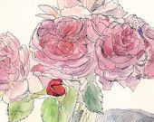 Romantic pink and red roses, flower home decor signed fine art print 8.5x11 Valentine Day Gift $18