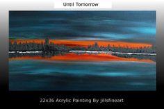 Original Painting Modern Abstract Sunset Landscape by Jillsfineart, $225.00