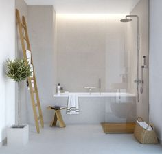 :: Havens South Designs :: loves a bath that is lean and spare with a tub shower combination