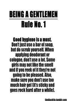 Rule No. 1 of Being a Gentlemen