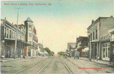 Carterville, Missouri, Main Street, Hotel Garland, Jasper County, MO, vintage postcard, postmarked 1911, historic photo