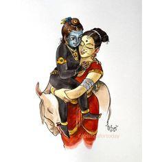 Yashoda Krishna, Bal Krishna, Krishna Statue, Cute Krishna, Krishna Art, Shree Krishna, Krishna Drawing, Krishna Painting, Madhubani Painting