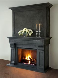 Stone Fireplace Mantel, Fireplace Bookshelves, Paint Fireplace, Rustic Fireplaces, Fireplace Remodel, Modern Fireplace, Fireplace Mantle, Living Room With Fireplace, Fireplace Surrounds