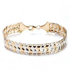 Two-tone gold bracelet, Beautiful unique design. Diamond Jewelry, Silver Jewelry, Bling, Jewels, Beautiful, Bracelets, Gold, Jewellery, Diamond Jewellery
