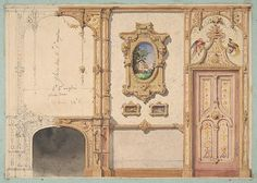 Design for the decoration of a wall punctuated by a fireplace and a door and hung with gold-framed pictures Jules-Edmond-Charles Lachaise  French