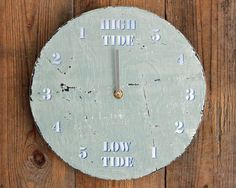 Tide Clock Driftwood Light Blue and White 10 inch by ReclaimedTime