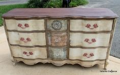 love this hand painted dresser decoupaged with coordinating scrapbook paper