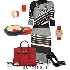 """""""Striped Jersey Dress"""" by button519 on Polyvore"""