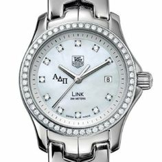 ADPi Women's TAG Heuer Link Watch with Diamond Bezel by TAG Heuer. $5195.00. Unique TAG Heuer presentation box.. Swiss-made Quartz movement.. TAG Heuer international two-year warranty. Authentic TAG Heuer watch only at M.LaHart & Co.. Officially licensed by Alpha Delta Pi. Alpha Delta Pi TAG Heuer women's Link watch with Alpha Delta Pi letters on brilliant diamond dial. Sparkling polished and fixed bezel set with 56 Top Wesselton diamonds. Elegant mother of pearl...