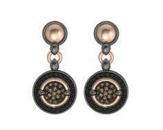 925 Sterling Silver Earring Pink 18k. Gold Blacks Spinels and Brown CZ. #bohemmejewelry #brownie #boho